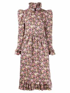 Batsheva ruffled floral print dress - PINK