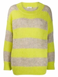 Closed striped knit jumper - Yellow