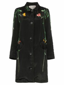 By Walid floral embroidered silk coat - Black