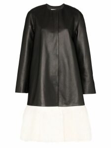 Loewe fur panel coat - Black