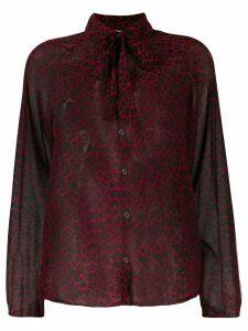 Liu Jo leopard print bow tie shirt - Red