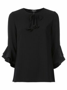 Paule Ka frill sleeve blouse - Black
