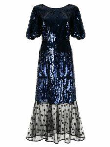Markus Lupfer sequin mesh panel dress - Blue