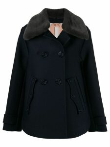 Nº21 faux fur collared coat - Blue