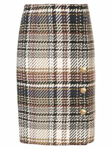 Paule Ka Prince of Wales check pencil skirt - White