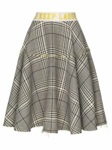 Mira Mikati checked Keep Laughing midi skirt - Black