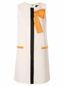 Paule Ka grosgrain half bow shift dress - White