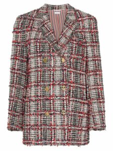 Thom Browne checked tweed double-breasted blazer - Blue