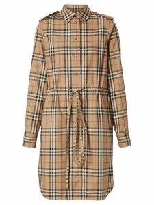 Burberry vintage check drawcord shirt dress - Neutrals