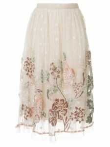 Biyan floral embroidered mesh skirt - White