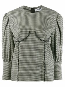 MSGM bust detailed houndstooth blouse - Black