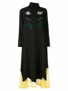 Toga embroidered lace trim dress - Black