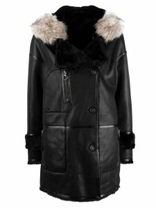 Urbancode fur hood trim coat - Black