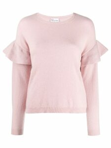 Red Valentino RED(V) frilled crew neck knitted sweater - Pink