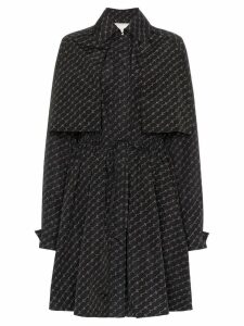 Stella McCartney Monogram Print Belted Trench Coat - Black