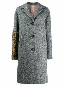 Nº21 leopard print panel coat - Grey