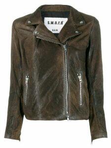S.W.O.R.D 6.6.44 distressed leather biker jacker - Brown