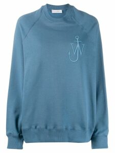 JW Anderson oversized anchor logo embroidered sweatshirt - Blue