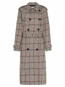 Stella McCartney pleated check trench coat - Brown