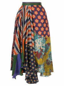 Biyan asymmetric patchwork skirt - Multicolour