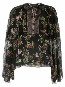 Giambattista Valli lace panel floral blouse - Black