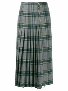 Cédric Charlier pleated plaid skirt - Grey