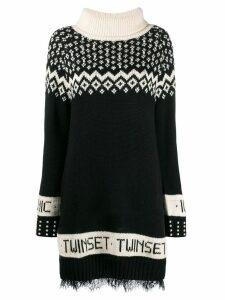 Twin-Set knitted jacquard dress - Black