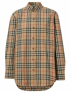 Burberry Button-down Collar Vintage Check Cotton Shirt - Brown