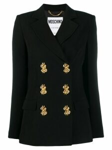 Moschino dollar sign double-breasted blazer - Black
