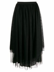 Twin-Set flared tulle midi skirt - Black