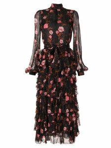 Giambattista Valli floral tiered ruffle dress - Black