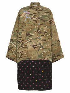 Natasha Zinko Camouflage And Contrast Print Hem Jacket - Green