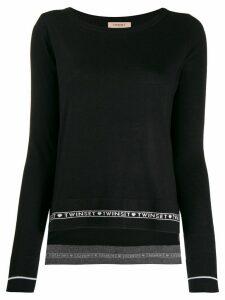 Twin-Set logo stripe jumper - Black