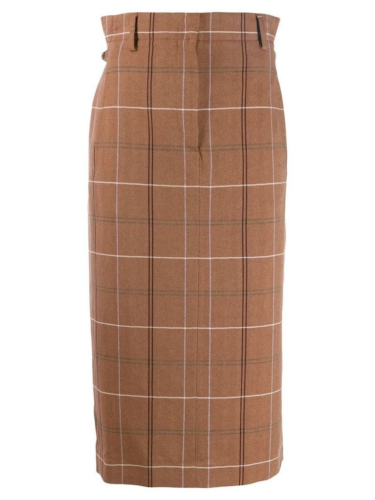 Acne Studios paper-bag checked skirt - Brown