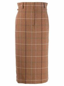 Acne Studios paper-bag checked skirt - Brown