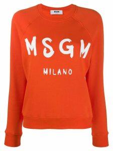 MSGM logo print crew neck sweater - Orange