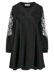 Valentino asymmetric lace embellished flared dress - Black