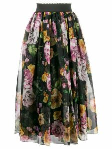 Dolce & Gabbana floral layered ruched skirt - Black