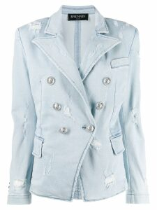 Balmain denim double-breasted blazer - Blue