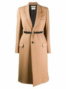 Bottega Veneta belted single breasted coat - Brown