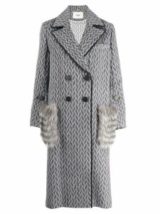 Fendi fur pockets double breasted coat - Grey