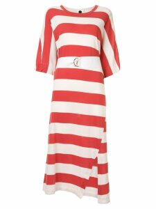 Bassike belted striped midi dress - Red