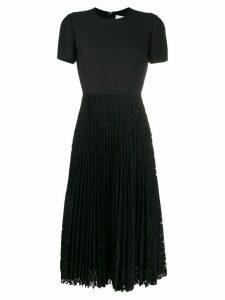 Valentino pleated lace midi dress - Black