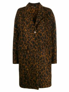 Ermanno Scervino leopard single-breasted coat - Brown