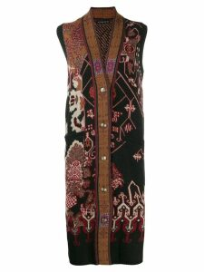 Etro embroidered sleeveless cardigan - Brown