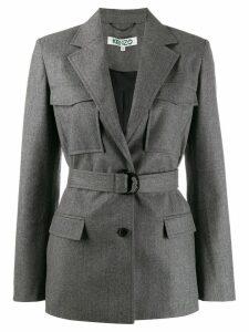 Kenzo belted flap pockets blazer - Grey