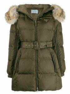 Prada belted waist hooded coat - Green