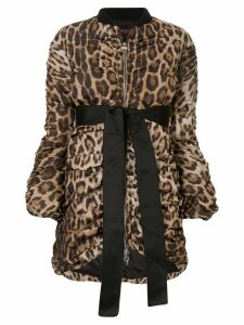 Giambattista Valli leopard draped bomber jacket - Brown