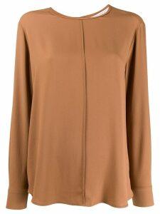 Tela long-sleeve flared blouse - Brown
