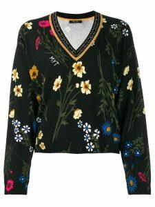 Twin-Set rhinestone-embellished floral jumper - Black